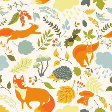 Vector floral seamless pattern with cute forest animals: squirrel, fox, hedgehog. Forest plants, leaves, mushrooms, berries and animals on a white background. stock vector