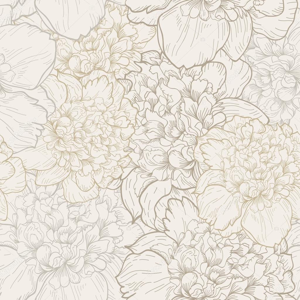Floral pattern with peonies