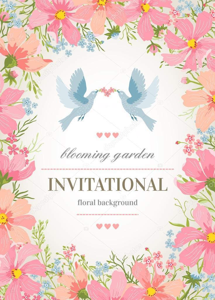 Blumen-Rahmen um und Vögel — Stockvektor © Lisla #56813739