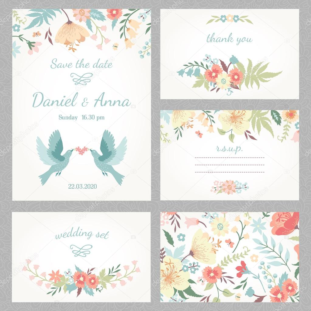 Beautiful vintage wedding set with cute flowers and love birds. Wedding invitation, thank you card, save the date cards. RSVP card. Vector illustration. clipart vector