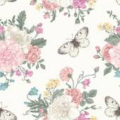 Photo Seamless  pattern  flowers and butterflies.