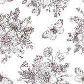 Bezešvé vzor květiny a motýli