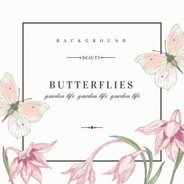 """Картина, постер, плакат, фотообои """"фон с цветами и бабочками."""", артикул 73776229"""