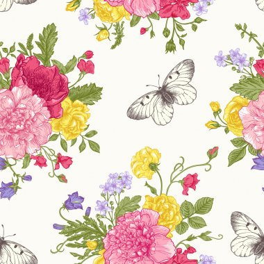 Seamless floral pattern with bouquet of colorful flowers on a white background. Peonies, roses, sweet peas, bell. Vector illustration. clip art vector