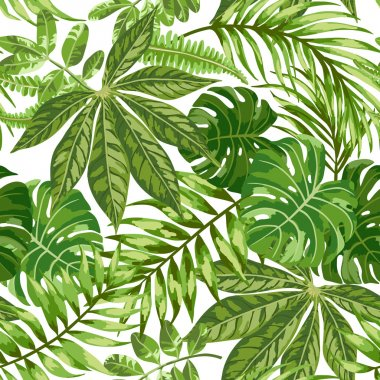 Seamless exotic pattern with tropical leaves on a white background. Vector illustration. stock vector