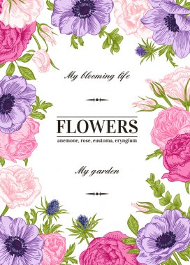Floral vector background with flowers in pastel colors. Anemone, rose, eustoma, eustoma. clip art vector