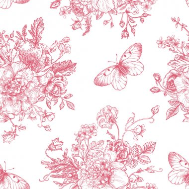 pattern with  flowers and butterflies.