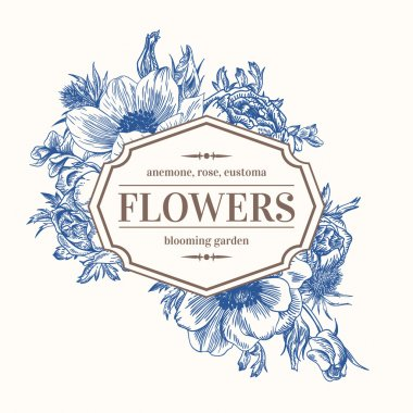 Vintage vector frame with summer flowers in blue. Anemone, rose, eustoma, eryngium. clip art vector
