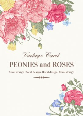 Wedding card with roses and peonies in pastel colors on a white background. stock vector
