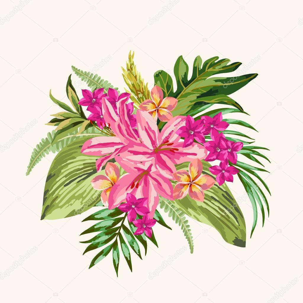 Bouquet of tropical flowers stock vector lisla 73776127 bouquet of tropical flowers stock vector izmirmasajfo