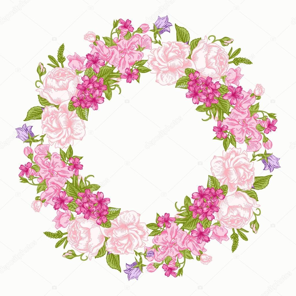 marco redondo floral — Vector de stock © Lisla #73776305
