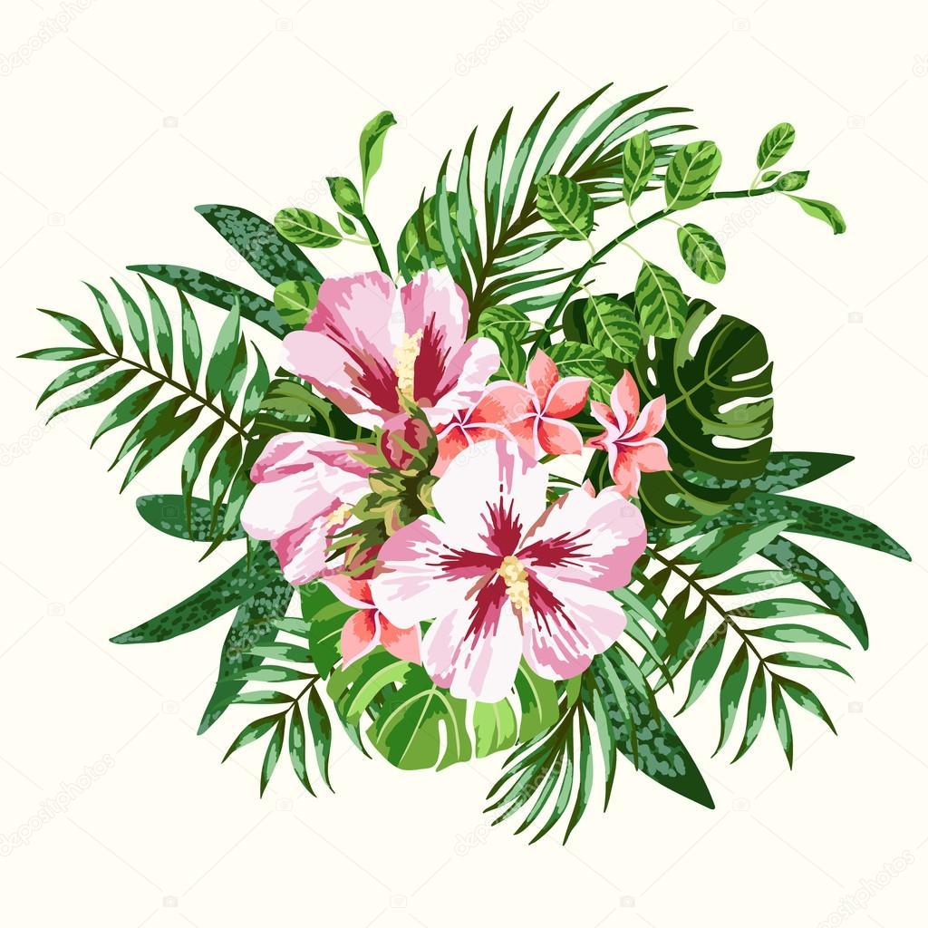 Bouquet of tropical flowers. — Stock Vector © Lisla #73776531