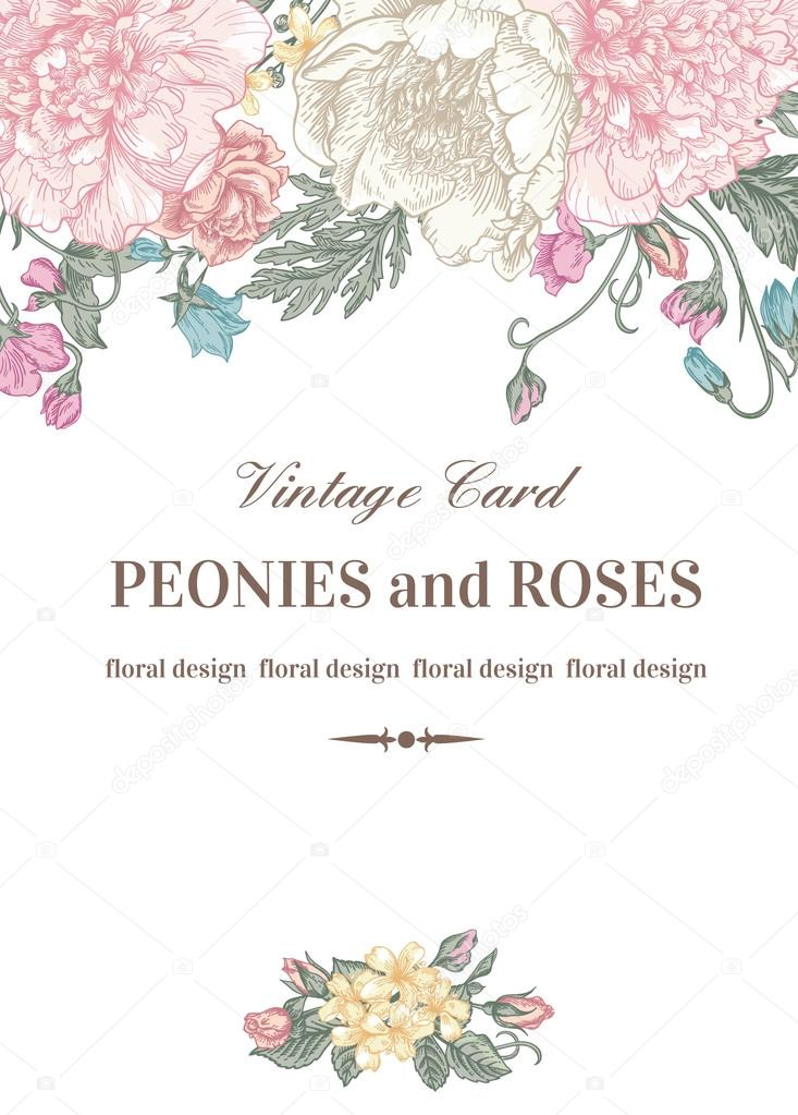 Foral card with garden flowers.