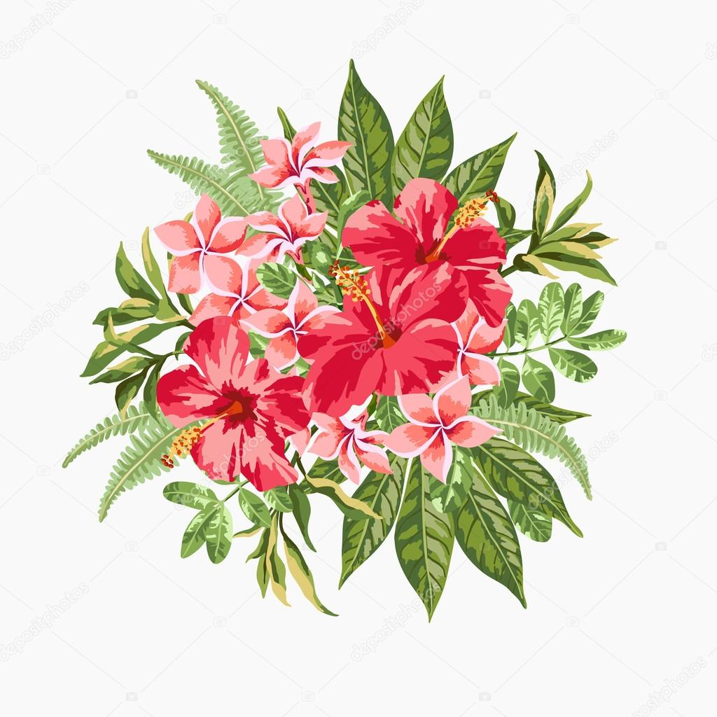 Bouquet of tropical flowers. — Stock Vector © Lisla #73776971