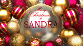 Fotografie Christmas card for Sandra to send warmth and love to a dear family member with shiny, golden Christmas ornament balls and Merry Christmas wishes to Sandra, 3d illustration