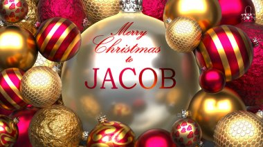 Christmas card for Jacob to send warmth and love to a dear family member with shiny, golden Christmas ornament balls and Merry Christmas wishes to Jacob, 3d illustration