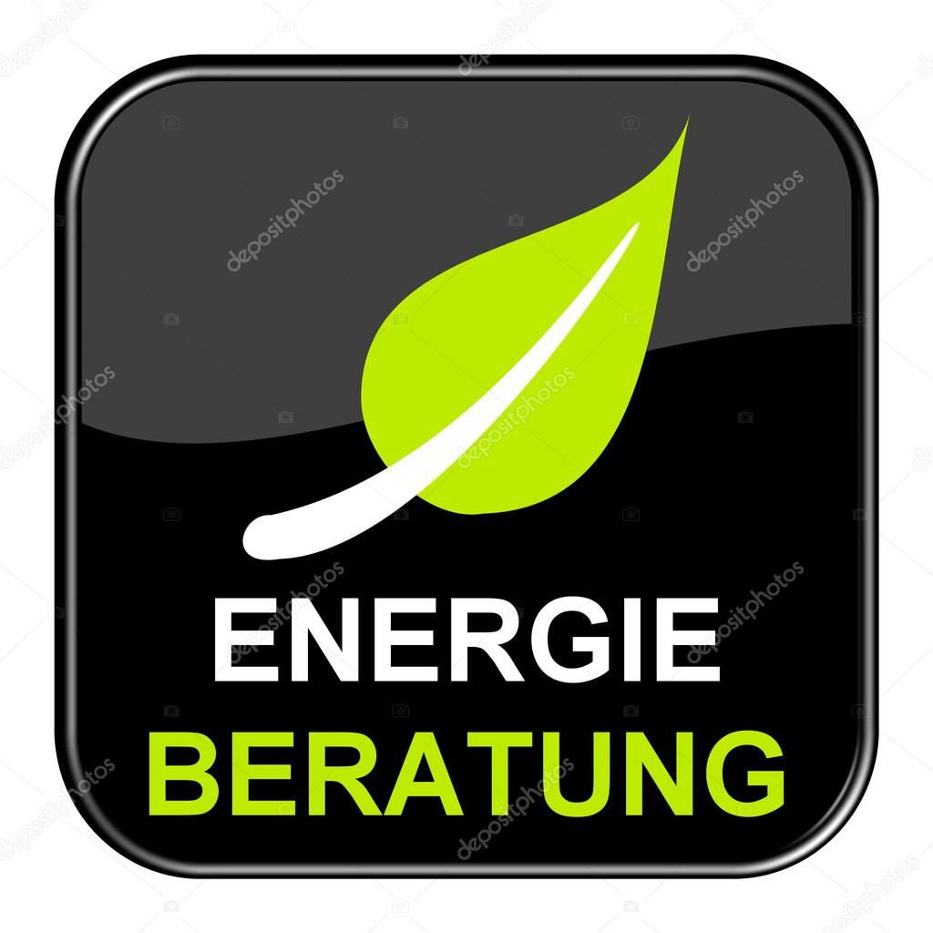 Shiny black Button Energy consulting german