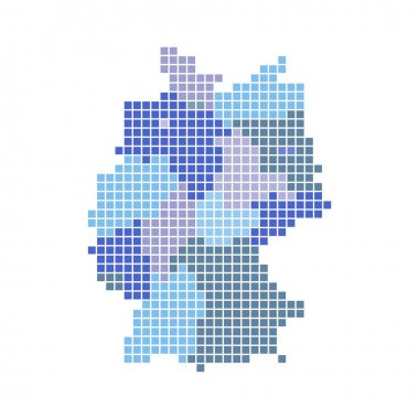 Map of german regions with blue and gray dots