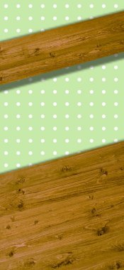 Wooden boards on light green background with white dots