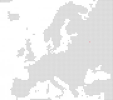 Position of city Moscow - Pixel Map Europe
