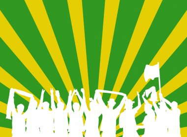 Celebrating Party people with green and yellow background