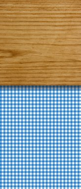 Background - blue white Tablecloth with wooden board