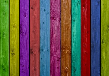 Colourful wooden boards