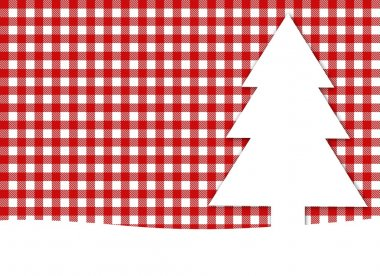 Christmas background - tablecloth red white with white fir tree