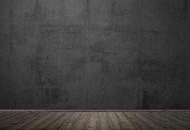 Empty dark room with wooden floor
