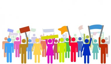 Illustration of colorful protesters