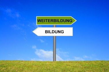 Signpost education or training in german language