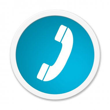 Modern isolated blue Button with symbol showing telephone stock vector