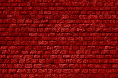 Brick wall with many stones and red color stock vector