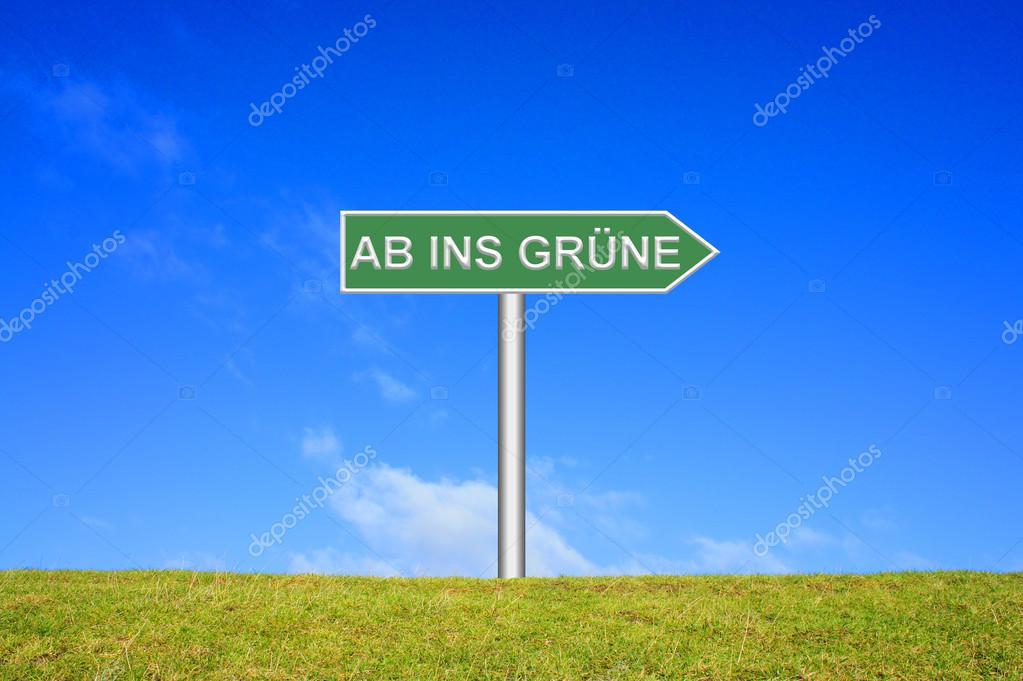 Signpost showing nature trip german