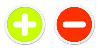 Buttons red green plus and minus