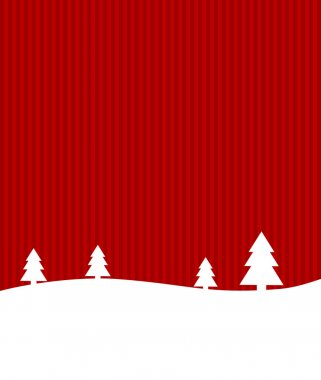 Christmas card with winter landscape and Copyspace red