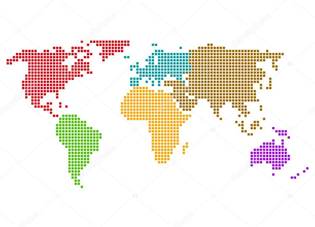 Pixel world map colorful continents stock photo keport 92768606 pixel world map colorful continents stock photo gumiabroncs Images