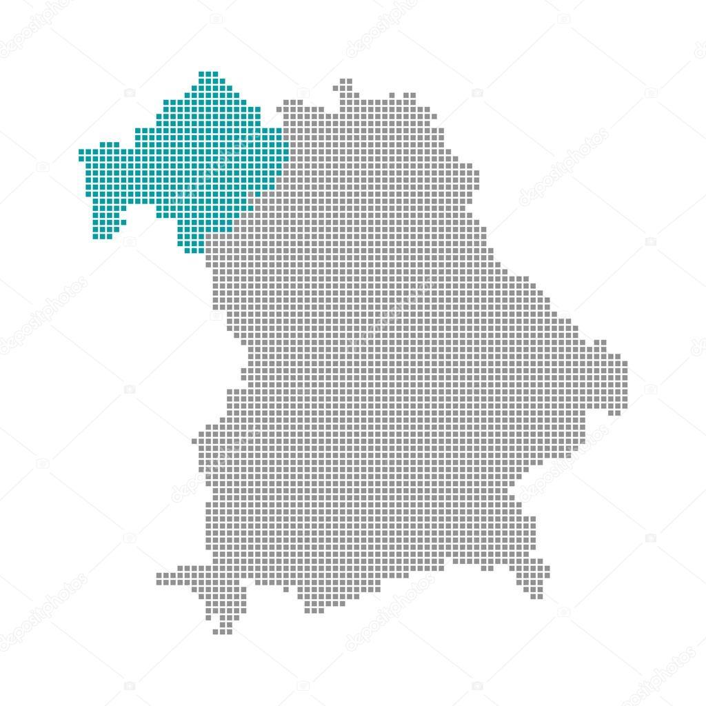 Unterfranken Karte.Pixel Karte Bayern Unterfranken Stockfoto Keport 94408628