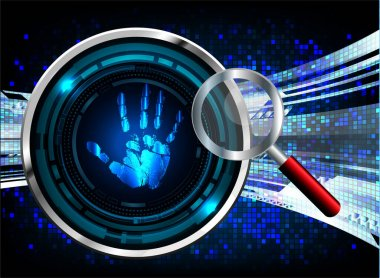 Finger print network cyber security background. hand icon