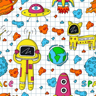 astronaut, cosmo cat and asteroids