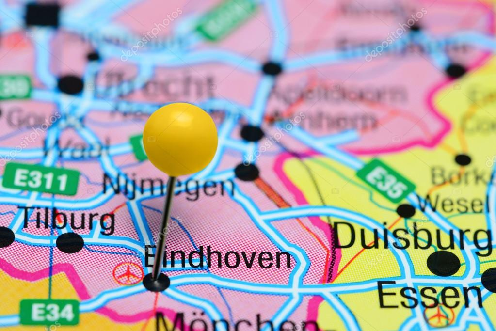 Eindhoven pinned on a map of Netherlands — Stock Photo © dk_photos ...