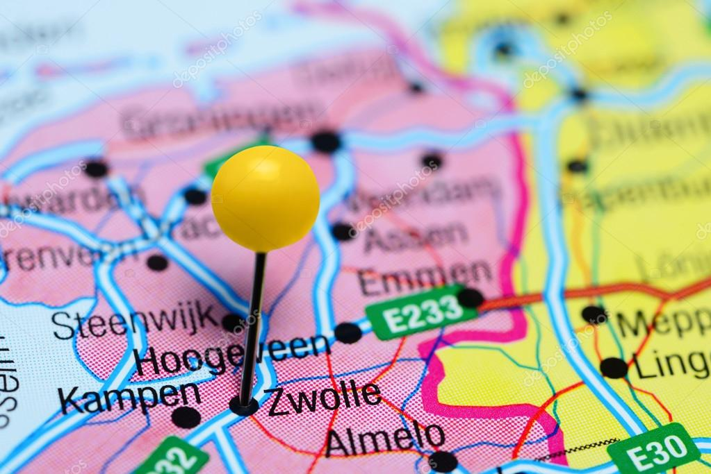 Zwolle pinned on a map of Netherlands Stock Photo dkphotos