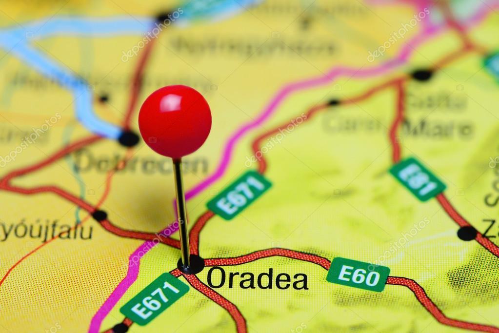Oradea Pinned On A Map Of Romania Stock Photo Dkphotos - Oradea map