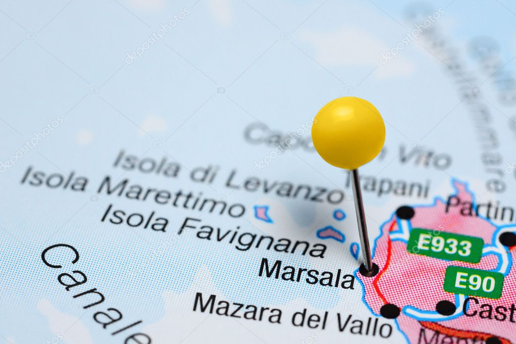 Marsala pinned on a map of Italy Stock Photo dkphotos 100679228