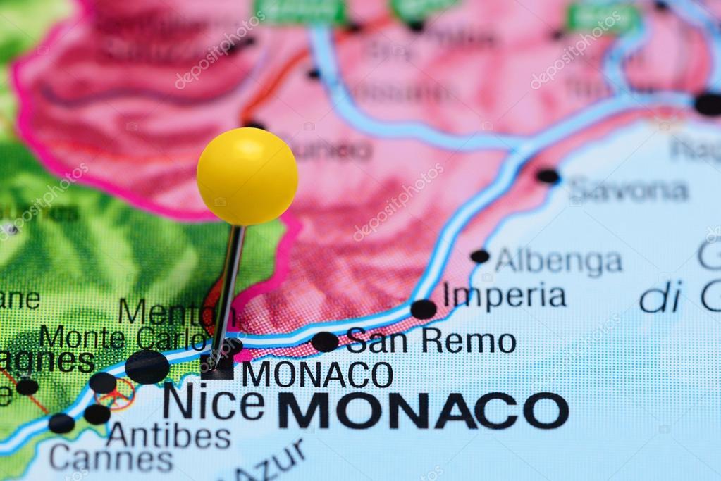 európa térkép monaco Monaco odatűzött ra egy Európa Térkép — Stock Fotó © dk_photos  európa térkép monaco