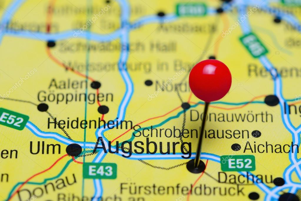 Augsburg pinned on a map of Germany Stock Photo dkphotos 102396704