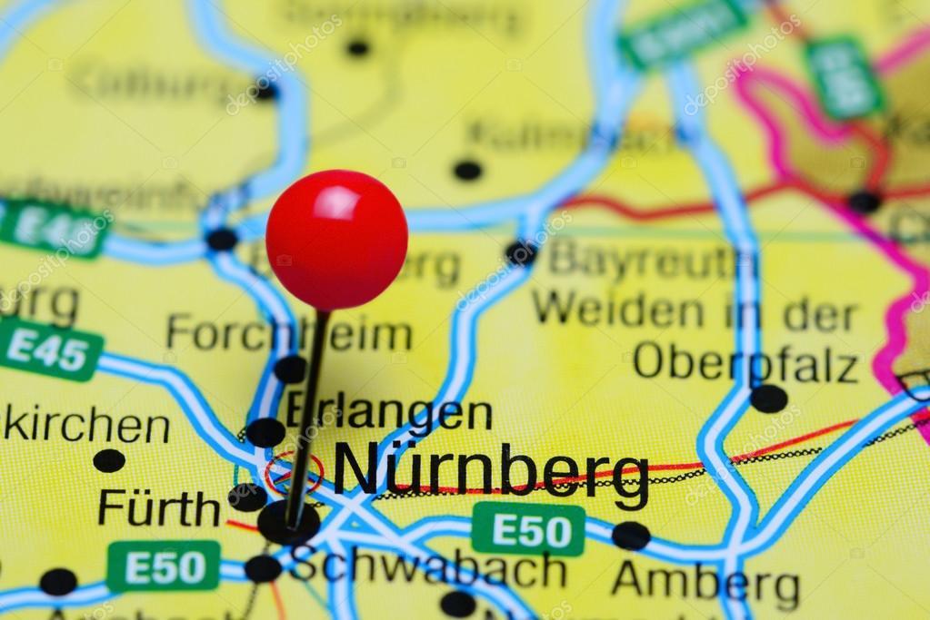 Nürnberg Karte Deutschland.Nurnberg Fixiert Auf Einer Karte Von Deutschland Stockfoto