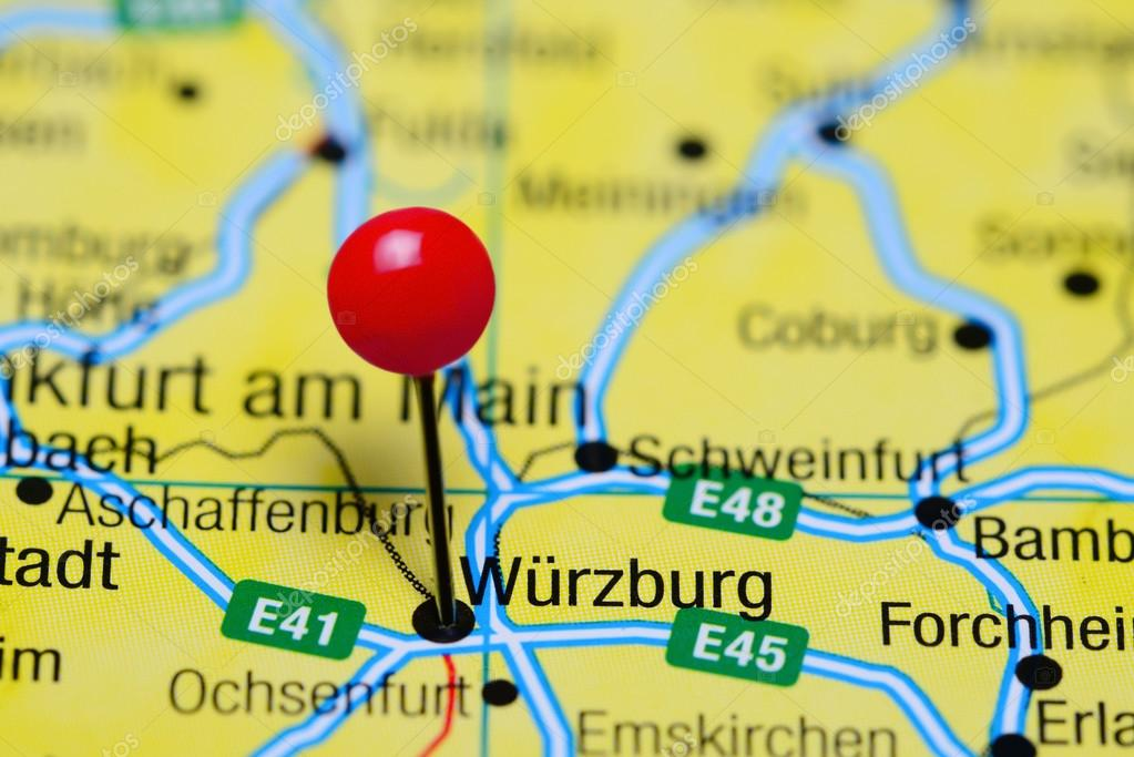 Wurzburg pinned on a map of Germany Stock Photo dkphotos 102932102