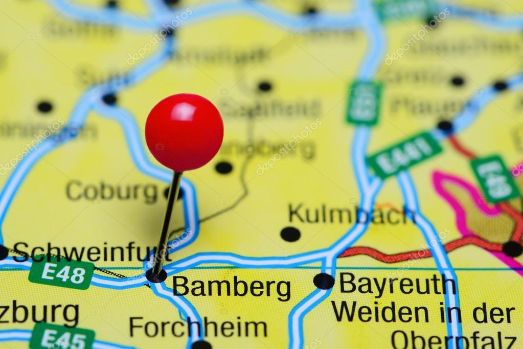 Karte Bamberg.Bamberg Fixiert Auf Einer Karte Von Deutschland Stockfoto