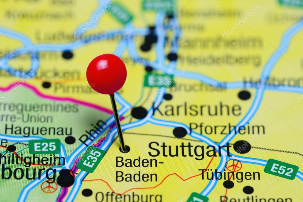 Map Of Germany Karlsruhe Baden.Baden Baden Pinned On A Map Of Germany Stock Photo C Dk Photos